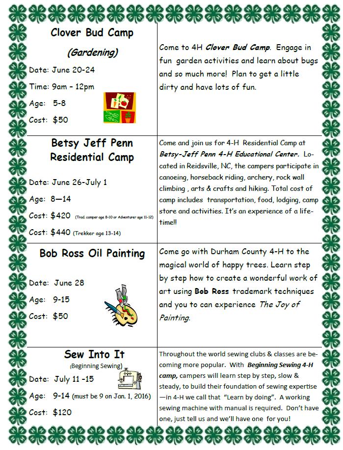 4-H activities brochure page 1