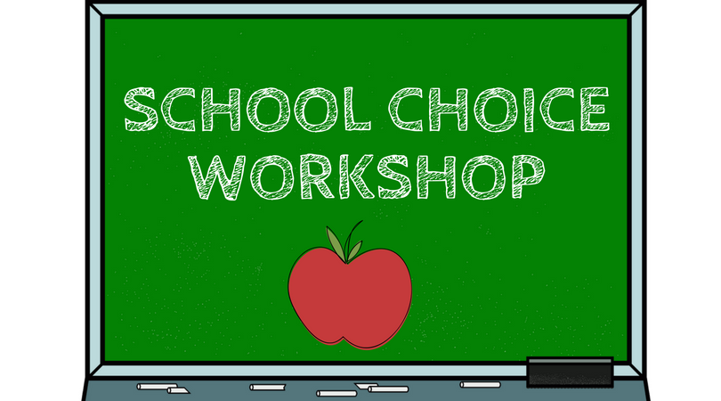 School Choice Workshop graphic of chalkboard with an apple on it