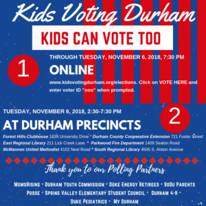 Cover photo for Our Kids Voting Durham Program Invites Kids K-12 to Vote Online and in Person