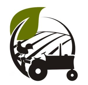 NC Farm School logo. A stylized tractor, rooster and field in a logo format.