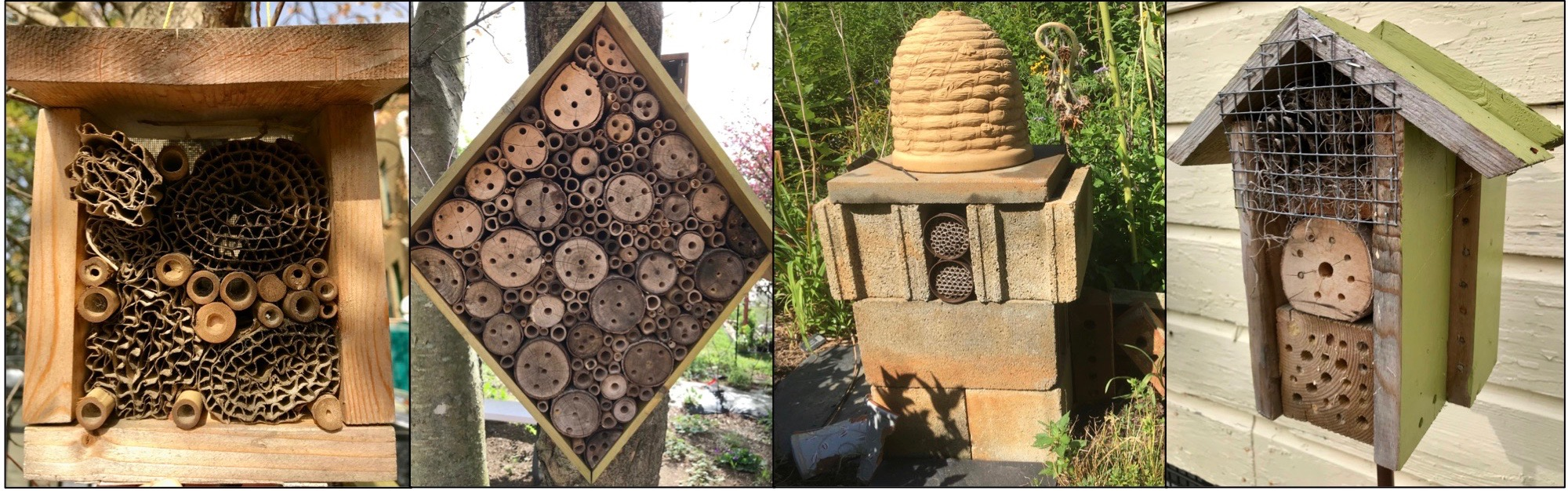 Selection of bee hotels of various sizes showing canes and other materials.