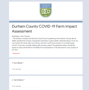 Cover photo for Durham County COVID-19 Farm Impact Assessment