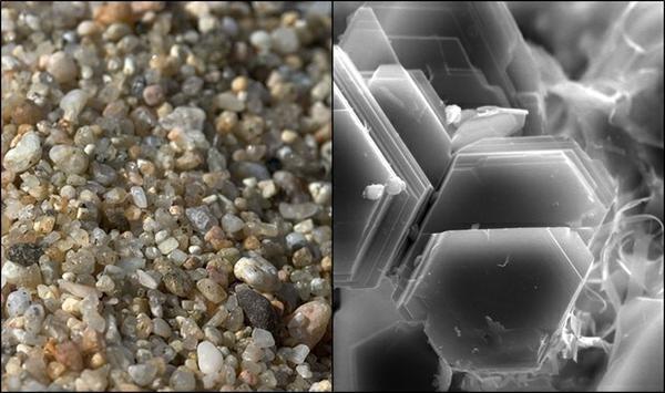 The image on the left shows a close-up of sand particles which appear grainy as seen by the naked eye. The right shows the platelike texture of clay visible only under a microscope.