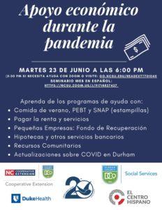 flyer para Apoyo Económico durante la Pandemia evento