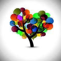 Colorful tree in shape of heart