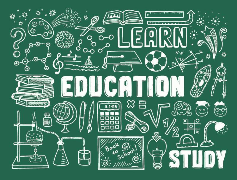 Doodle of education related objects with words Learn Education and Study written