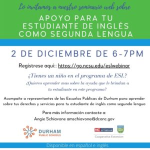 Cover photo for Seminario web para estudiantes de inglés como segunda lengua de DPS -  Join Our Webinar: Resources for DPS English Language Learners