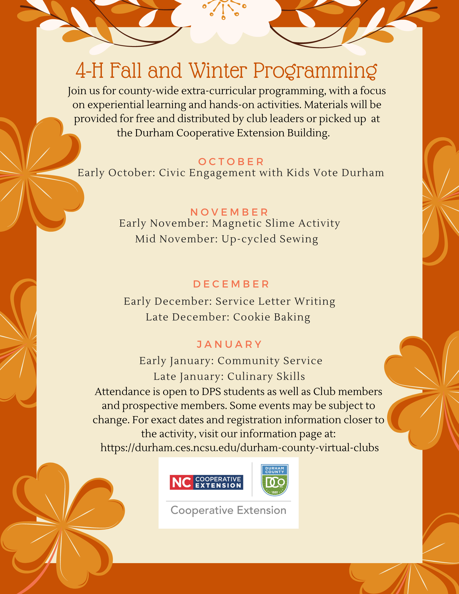 4-H Fall and Winter Programming flyer