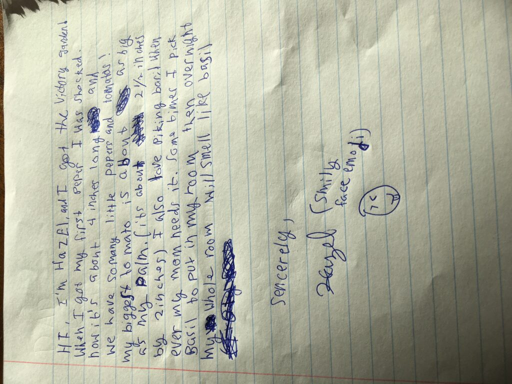 Hand-written note from child