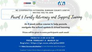 Parent & Family Advocacy Training flyer
