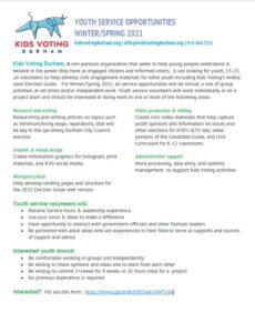Kids Voting Durham volunteer opportunities listing