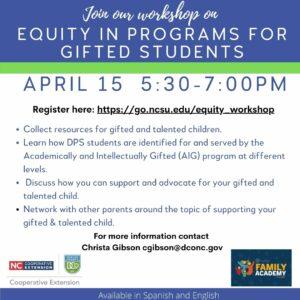 Cover photo for Workshop on Equity in Gifted Education/ Equidad en Programs Para Alumnos Superdotados