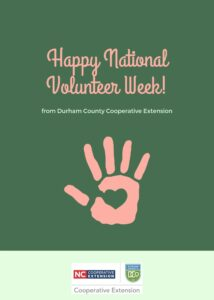 hand with heart in the middle; text says Happy National Volunteer Week!