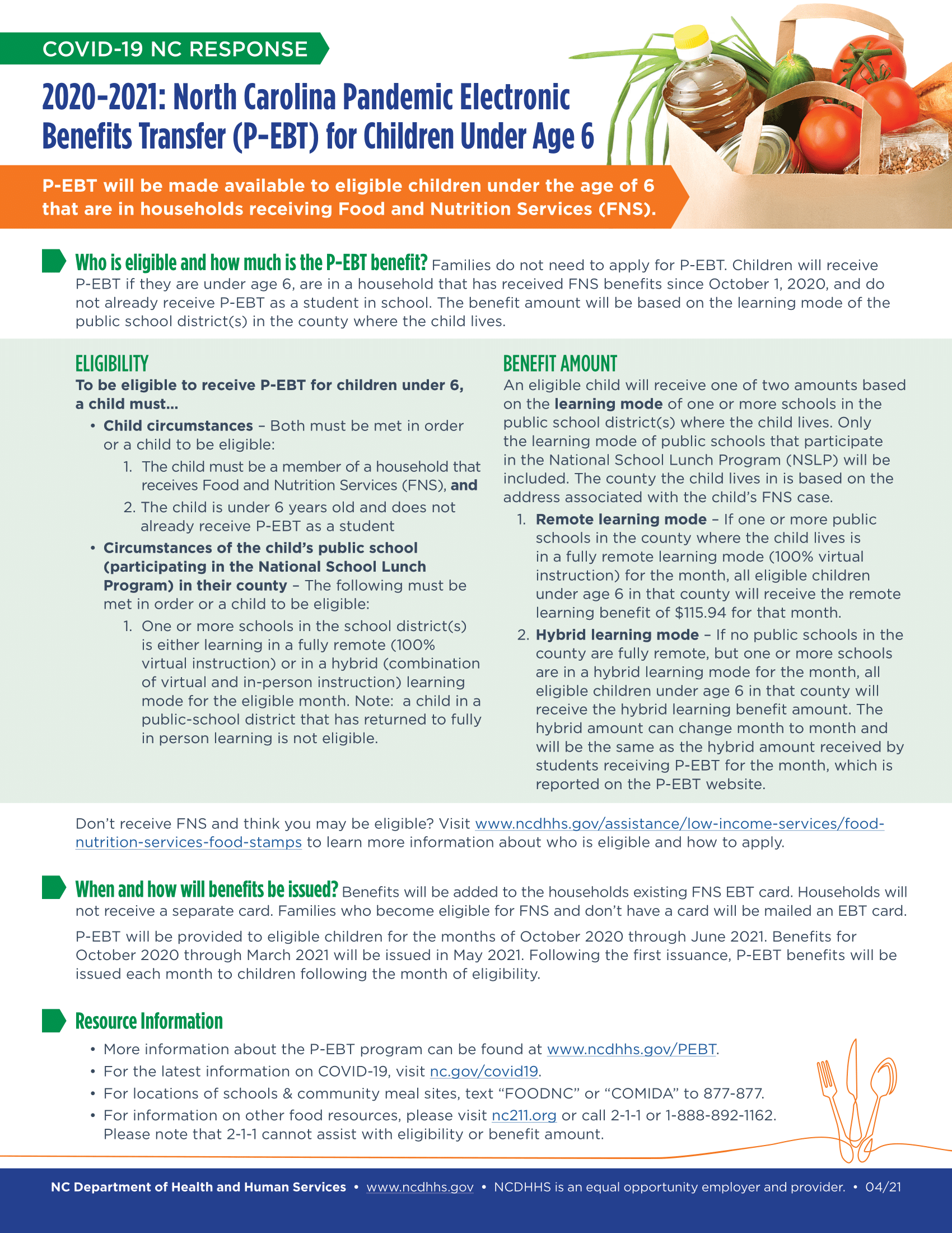 P-EBT Benefits flyer image